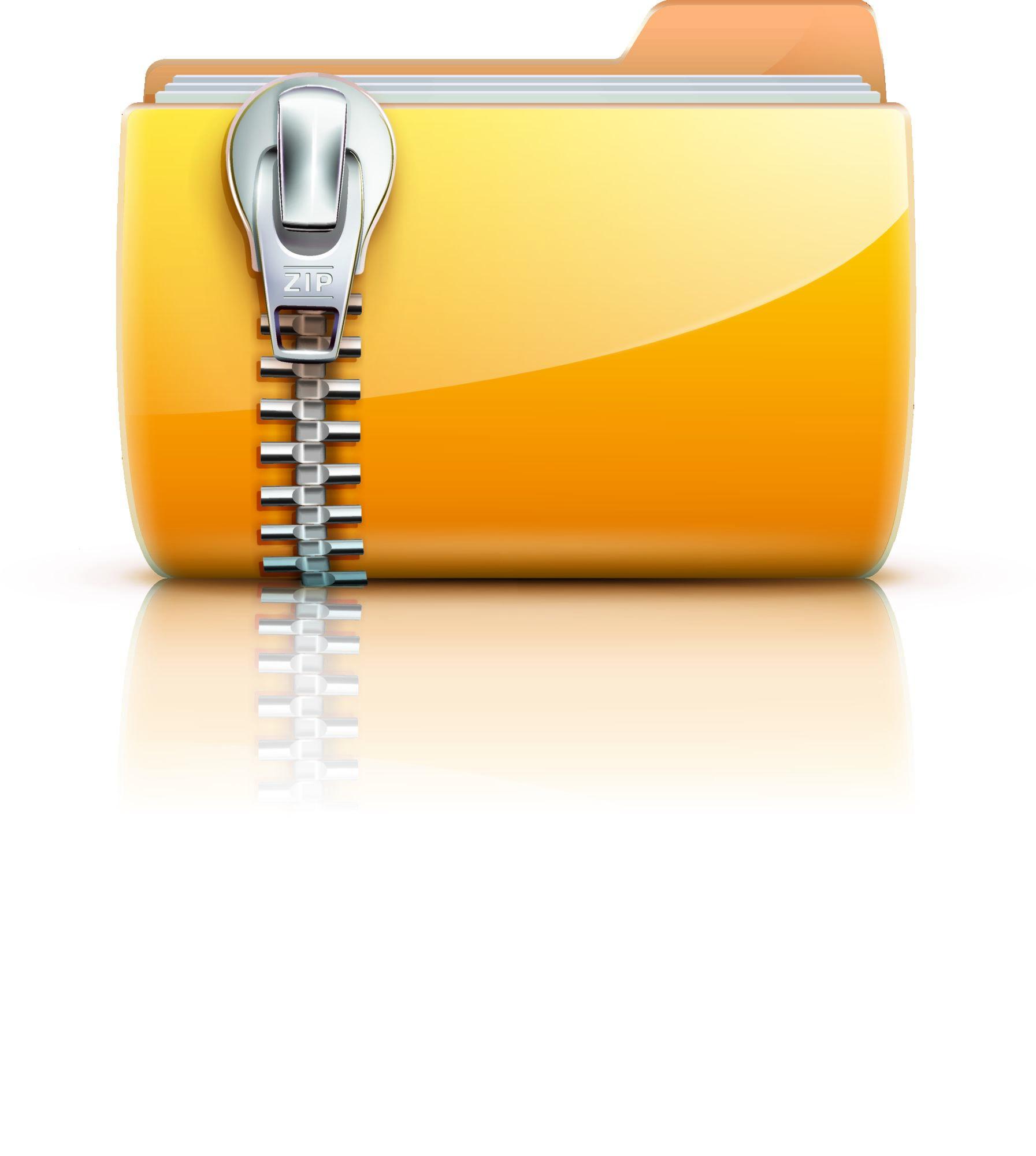 Vector Illustration Of Yellow Interface Computer Zip Folder Icon