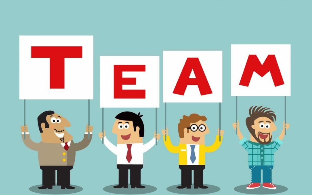 Business Life Office Personnel Holding Team Sign Vector Illustration